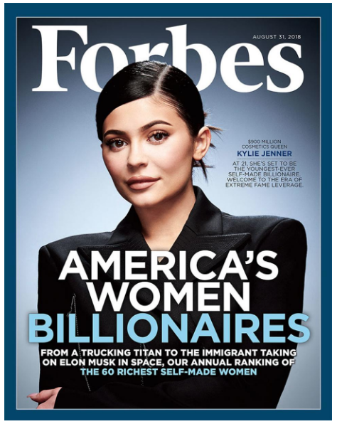 Kylie Jenner on the cover of Forbes Magazine